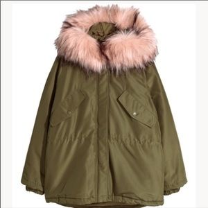 H&M Padded Parka with Pink Faux Fur size Small